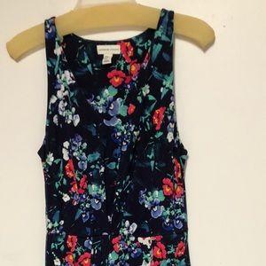 Adrienne Vittadini Blue Floral Maxi Dress Sz Med